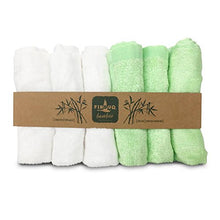 Load image into Gallery viewer, Bamboo Baby Washcloths  - Premium Extra Soft & Absorbent Towels For Babys Sensitive Skin - Superb Reusable Wipes - Excellent Baby Shower Gift / White-Green