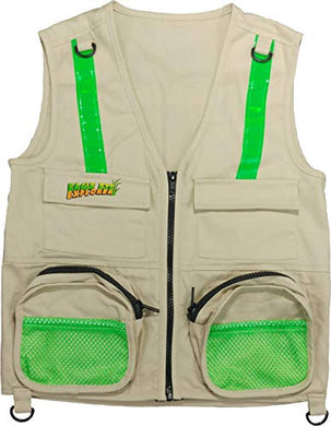 Eagle Eye Explorer Cargo Vest For Kids With Reflective Safety Straps. For Clubs, Groups, Troops, Bird Watching And Outdoor Exploration 100% Cotton. Tan. (Fits Youth Size 14 To Adult Size M)