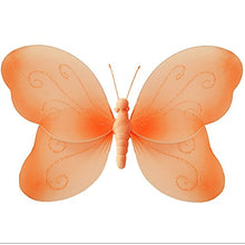 Load image into Gallery viewer, Hanging Butterfly 10 Medium Orange Swirls Nylon Butterflies Mesh Decorations Decorate Baby Nursery Bedroom Girls Room Ceiling Wall Decor Wedding Birthday Party Baby Shower Bathroom Kid Child 3D Art