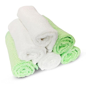 Bamboo Baby Washcloths  - Premium Extra Soft & Absorbent Towels For Babys Sensitive Skin - Superb Reusable Wipes - Excellent Baby Shower Gift / White-Green