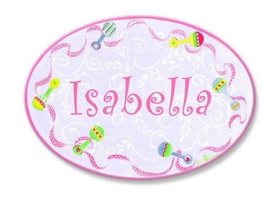 The Kids Room By Stupell Isabella, Pink With Multi-Colored Rattle Border Personalized Oval Wall Plaque