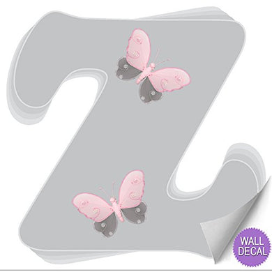 Wall Decals Letter  Z  Gray Grey Pink Butterfly Letters Baby Name Decal Stickers Decorative Alphabet Decor - Children'S Room, Baby'S Nursery, Girl'S Bedroom, Kid'S Playroom By Bugs-N-Blooms