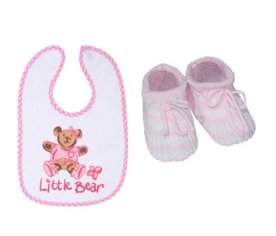 Waterproof Bib And Acrylic Booties For Newborn Baby Girl