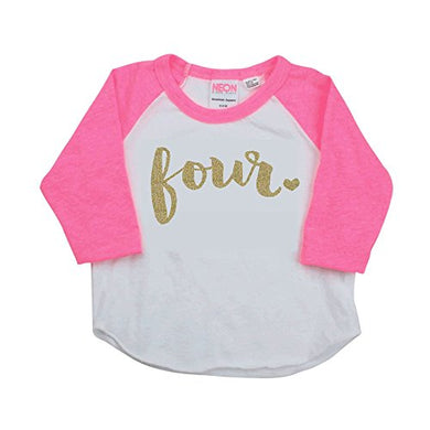 Girl Fourth Birthday Outfit, Fourth Birthday Shirt, Four Year Old Outfit (2T)