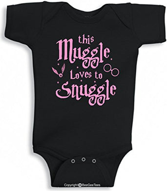 Beegeetees This Muggle Loves To Snuggle Funny Wizard Inspired Baby Wizard One Piece (6 Months, Pink Ink)
