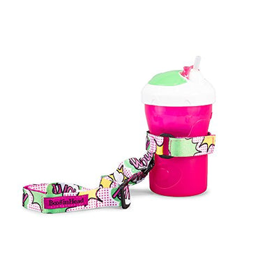 Booginhead - Sippigrip Sippy Cup And Bottle Holder, High Chair And Car Seat Universal Attachment Strap - Super Power Wow!, Pink And Green