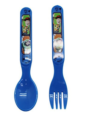 Disney'S Toy Story Buzz And Woody Blue Plastic Kids Spoon And Fork Set