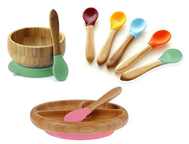Avanchy Mix &Amp; Match Organic - Bamboo Baby Gift Set. Bamboo Baby Bowl + Bamboo Baby Divided Plate + 5 Assorted Spoons Set. Great For Baby Boy, Baby Girl, Unisex (Green Bowl/Pink Plate)