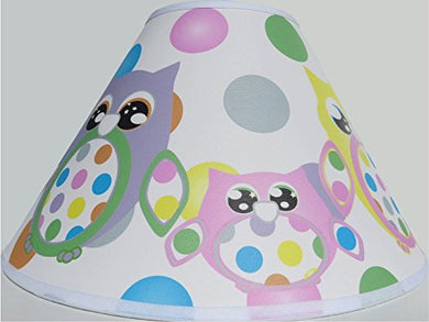 Multi Colored Owl Lamp Shade With Polka Dots/Owl Woodland Forest Animal Nursery Decor