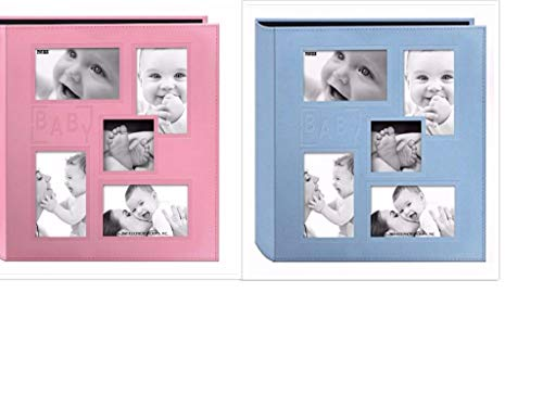 2 Pioneer Collage Frame Embossed  Baby  Sewn Leatherette Cover Photo Album, 4 X6 , Color Baby Blue + Baby Pink