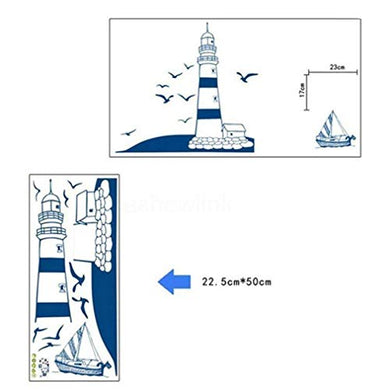 Hengsong Modern Lighthouse Seagull Sailboat Pvc Art Wall Stickers Removable Living Room