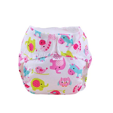 Sunward Reusable Washable Adjustable Baby Toddler Soft Dry Cloth Diaper Nappy (M, White+Pink)