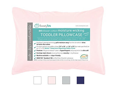 Moisture Wicking Toddler Pillowcase For Sweaty Sleepers - Fits 13 X 18 And 14 X 19 Pillows, Envelope Style Pillow Cover, Features Patented Drirelease(R) Moisture Wicking Technology (Pink)