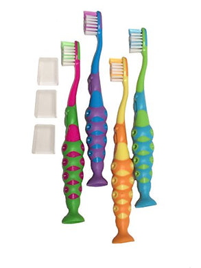 Of Kids Childrens Toddler Soft Bristle Easy Grip Toothbrush Set W/ Suction Base And Travel Dust Covers