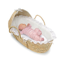 Load image into Gallery viewer, Hooded Moses Basket Natural/Brown Polka Dot