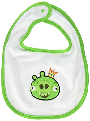 Swaddledesigns Cotton Bib, Baby Bib, Angry Birds Baby, King Pig, Medium