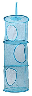 Hengsong Foldable Three Layer Laundry Toys Baskets Hanging Storage Bags Organizers (Blue)