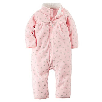 Carters Baby Girls Zip-Up Glitter Print Jumpsuit Pink Hearts 3M
