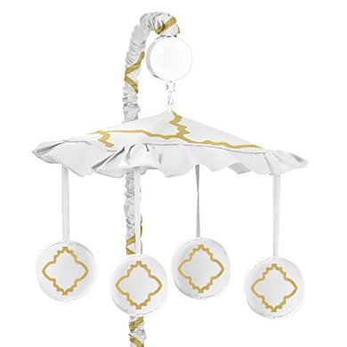 White And Gold Trellis Print Lattice Musical Baby Crib Mobile