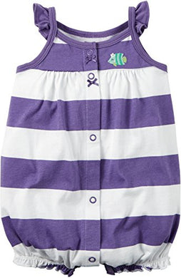 Carters Baby Girls Snap-Front Striped Romper Fish Art Purple 6M