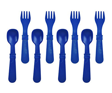 Re-Play Made In The Usa 8 Count Spoon And Fork Utensil Set For Baby And Toddler - Navy Blue
