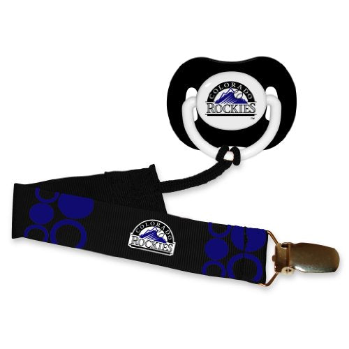 Mlb Baseball Baby Infant Pacifier With Clip Set, Colorado Rockies