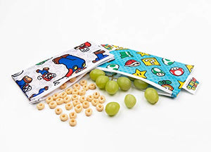 Bumkins Nintendo Super Mario Snack Bags, Reusable, Washable, Food Safe, Bpa Free, - Mario &Amp; Luigi