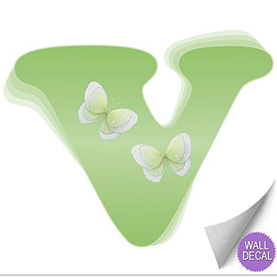Wall Letters V Green Butterfly Decorative Wall Letter For Children'S Nursery Baby'S Room Baby Name Girls Bedroom Decor - Alphabet Initial Vinyl Stickers Decals Kids Decorations Graphics Butterflies