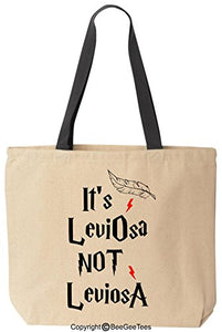 It'S Leviosa Not Leviosa Funny Harry Potter Reusable Canvas Tote Bag By Beegeetees (Black Handle)