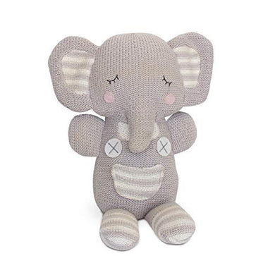 Living Textiles Plush Toy. Knitted Stuffed Animal Toy With Rattle. (Grey Theodore Elephant)