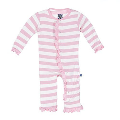 Kickee Pants Essentials Print Ruffle Coverall (Lotus Stripe 6-9 Months)