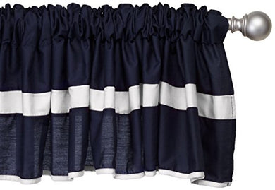 Baby Doll Bedding Solid Stripe Window Valance, Navy/White