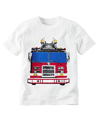 Carter'S Boys Firetruck Graphic S/S Tee, White, 18M