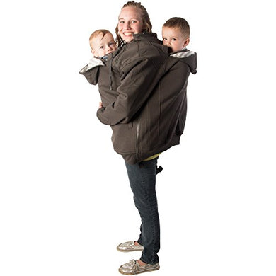 Roocoat Tandem Babywearing Coat Charcoal With Gray Stripes 2Xl