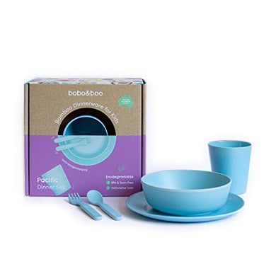 Bobo&Amp;Boo Bamboo 5 Piece Childrens Dinnerware, Pacific Blue, Non Toxic &Amp; Eco Friendly Kids Mealtime Set For Healthy Infant Feeding, Great Gift For Baby Showers, Birthdays &Amp; Preschool Graduations