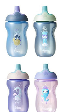 Tommee Tippee Sportee Bottle, Blue &Amp; Green/Pink &Amp; Purple, Bpa-Free, 10 Ounce, 12+ Months, 2 Count (Colors Will Vary)