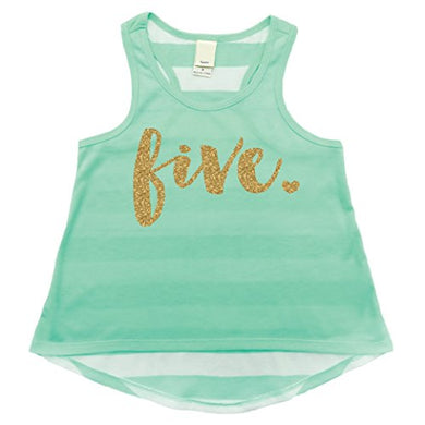 5Th Birthday Shirt, Girl Fifth Birthday Tank Top, Five Year Old Girl (5T)