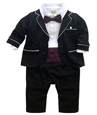 Baby Boy Outfit Baptism Suit Natural Clothes First Birthday Wedding Beach Family Photos Formal Set Black 80