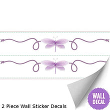 Load image into Gallery viewer, Dragonfly Wall Mural Vinyl Stickers Purple 2 Piece Scrolls Dragonflies Decals Children Nursery Baby Room Decor Girl Bedroom Decorations Kid Child Murals Art Birthday Party Playroom Walls Home Graphics