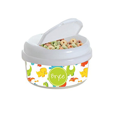 Multicolored Dinosaurs Personalized Snack Container