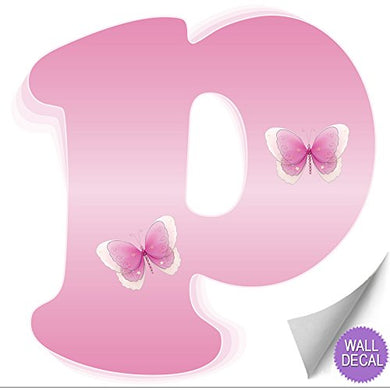 Wall Decals Letter  P  Pink Butterfly Letters Baby Name Decal Stickers Decorative Alphabet Decor - Children'S Room, Baby'S Nursery, Girl'S Bedroom, Kid'S Playroom By Bugs-N-Blooms