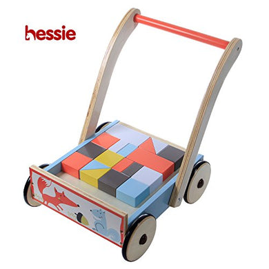 Hessie Little Toddler Kids/Baby Push Wooden Learning Walker, Push And Pull Toys With Stacking Wooden Blocks For 1 Year And Up