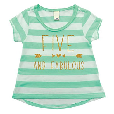 Girl 5Th Birthday Shirt, Five And Fabulous Shirt (5T)