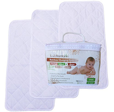 Changing Pad Liners Best For Baby Diaper Changing Table, Extra Soft Bamboo, White Waterproof Liner Cover Mat, Portable &Amp; Durable Travel Pads, Baby Shower Gift Ideas