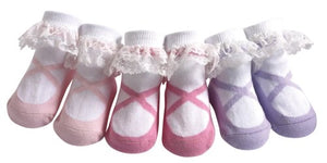 Jazzytoes Infant Baby Cotton Socks, Set Of 3 Pairs (12-24M, Lacy Ballerina)