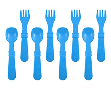 Re-Play Made In The Usa 8 Count Spoon And Fork Utensil Set For Baby And Toddler - Sky Blue