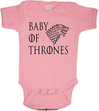 Baby Of Thrones Stark Winter Is Coming Romper Funny Onesie By Beegeetees (6 Months, Pink)