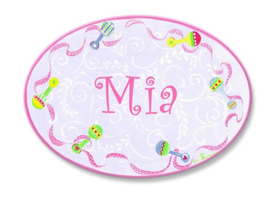 The Kids Room By Stupell Mia, Pink With Multi-Colored Rattle Border Personalized Oval Wall Plaque