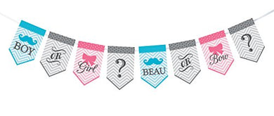 Lillian Rose Baby Gender Reveal Bunting Banner, Pink/Blue/Grey, 45