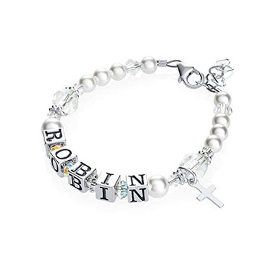 Personalized Name Christening Toddler Bracelet With Swarovski Crystals (Bwnp_M)